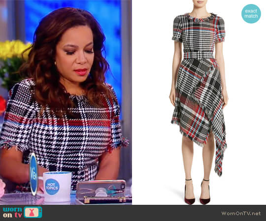Plaid Asymmetrical Dress by Oscar de la Renta worn by Sunny Hostin (Sunny Hostin) on The View