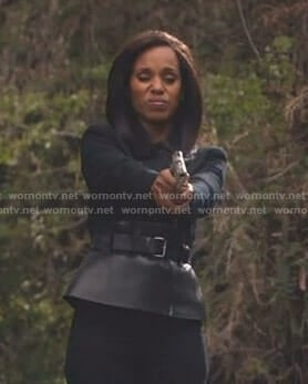 Olivia's black belted peplum jacket on Scandal