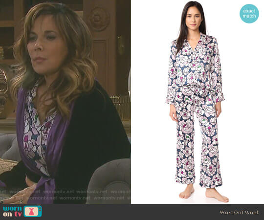 Lila Roxanne PJ Set by Olivia von Halle worn by Kate Roberts (Lauren Koslow) on Days of our Lives