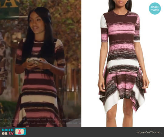 Delta Rib Knit Dress by Opening Ceremony worn by Zoey Johnson (Yara Shahidi) on Grown-ish