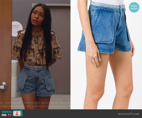 Inside Out Shorts by Opening Ceremony worn by Zoey Johnson (Yara Shahidi) on Grown-ish