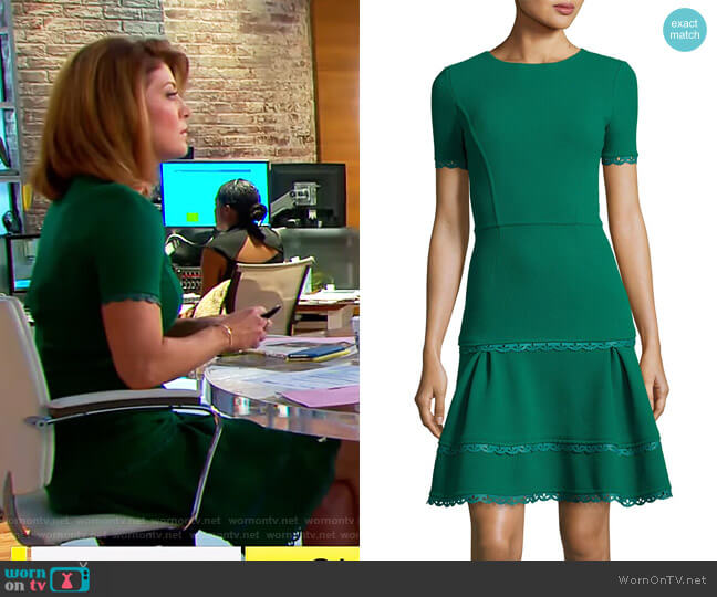 Short-Sleeve Lace-Trim Dress by Oscar de la Renta worn by Norah O'Donnell on CBS This Morning