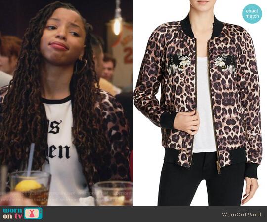 Embellished Leopard Silk Bomber Jacket by Pam & Gela worn by Jazlyn Forster (Chloe Bailey) on Grown-ish