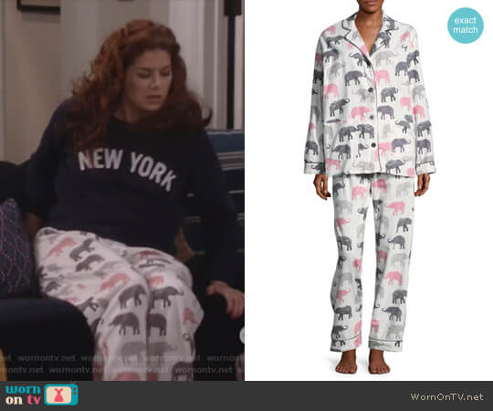 Elephant Print Pajama Set by PJ Salvage worn by Debra Messing on Will & Grace