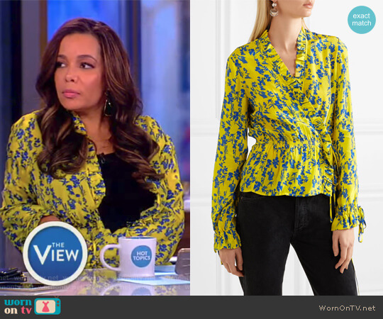 Taia ruffled floral-print crepe de chine wrap blouse by Preen Line worn by Sunny Hostin (Sunny Hostin) on The View