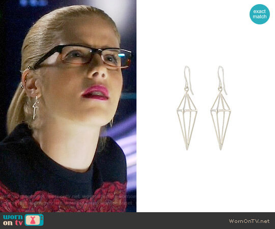 Peggy Li Triangle Cage Earrings worn by Emily Bett Rickards on Arrow