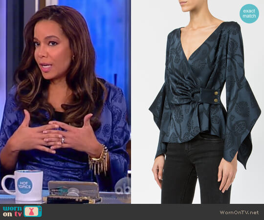 Draped Bardot Blouse by Peter Pilotto worn by Sunny Hostin on The View
