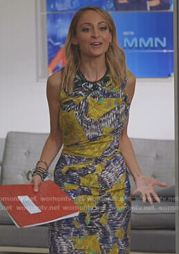 Portia's printed sheath dress on Great News