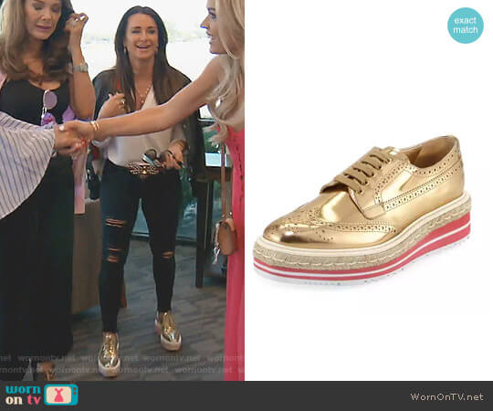 Metallic Wing-Tip Platform Loafer by Prada worn by Kyle Richards  on The Real Housewives of Beverly Hills