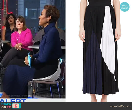 Pleated Colorblocked Midi-Skirt by Proenza Schouler worn by Robin Roberts on Good Morning America
