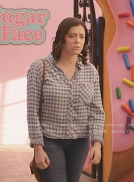 Rebecca's blue gingham shirt on Crazy Ex-Girlfriend