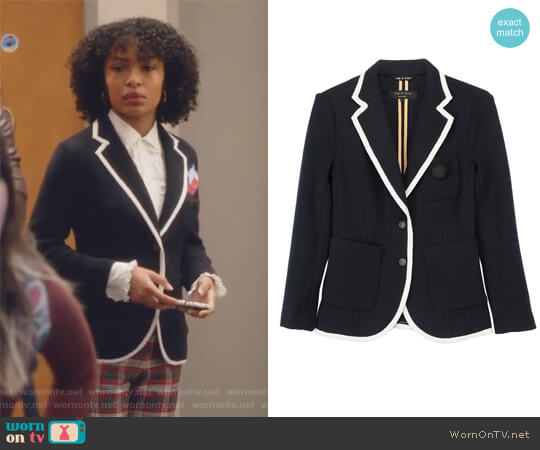 'Bromley' blazer by Rag & Bone worn by Yara Shahidi on Grown-ish