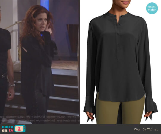 Dylan Long-Sleeve Silk Blouse w/ Tie Cuffs by Rag & Bone worn by Grace Adler (Debra Messing) on Will & Grace
