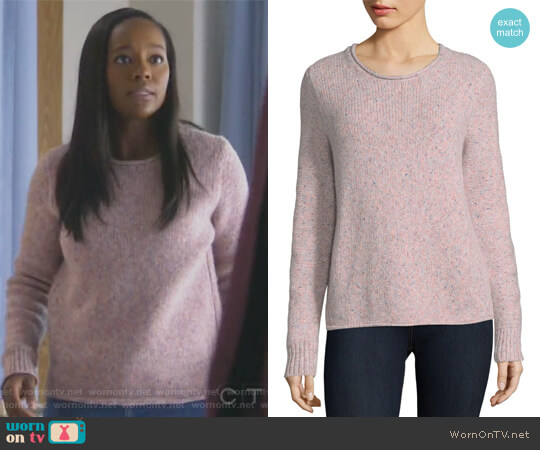Francie Suede Trim Wool Blend Sweater by Rag and Bone worn by Michaela Pratt (Aja Naomi King) on HTGAWM