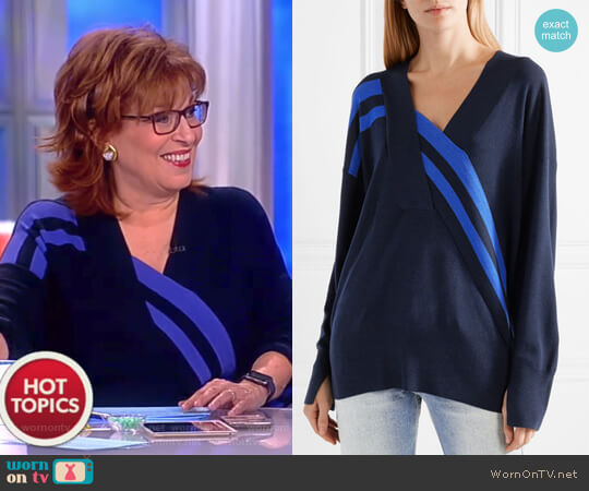 Grace wrap-effect merino wool sweater by Rag and Bone worn by Joy Behar on The View