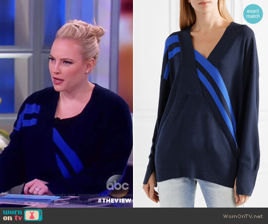 Grace wrap-effect merino wool sweater by Rag and Bone worn by Meghan McCain on The View
