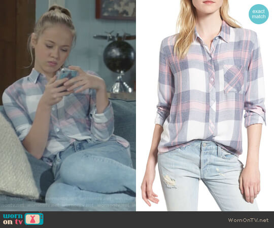 Rails Hunter Shirt in Mulberry Blue worn by Samantha Hughes (Holly Barrett) on Life in Pieces