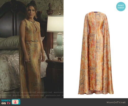 'Patrice' Cape Gown by Ralph Lauren worn by Nathalie Kelley on Dynasty