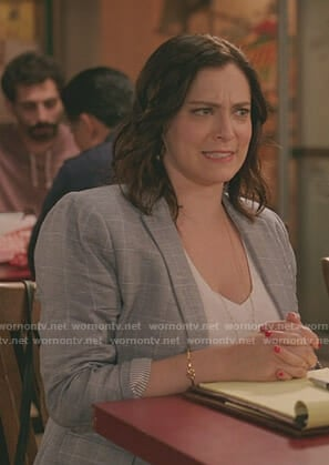 Rebecca's grey windowpane blazer on Crazy Ex-Girlfriend