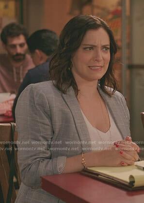 Rebecca's grey windowpane blazer on Crazy Ex-Girlfriend
