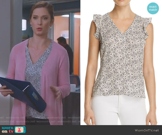 Floral Print Silk Ruffle Top by Rebecca Taylor worn by Briga Heelan on Great News