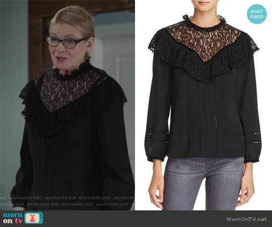 Lace & Ruffle Silk Top by Rebecca Taylor worn by Joan Short (Dianne Wiest) on Life in Pieces