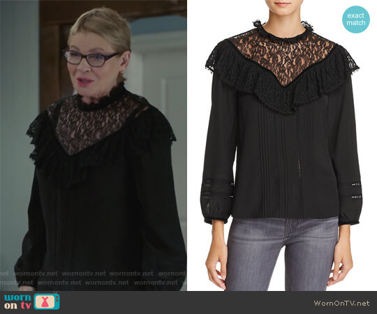 Lace & Ruffle Silk Top by Rebecca Taylor worn by Dianne Wiest on Life in Pieces