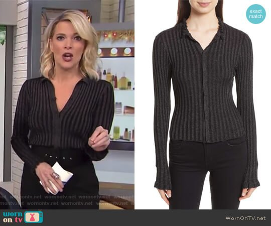 Metallic Ribbed Cardigan by Rebecca Taylor worn by Megyn Kelly on Today