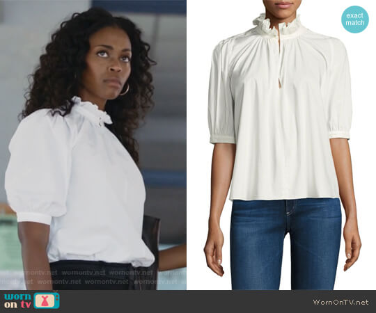 Short Sleeve Poplin Top by Rebecca Taylor worn by Anissa Pierce (Nafessa Williams) on Black Lightning