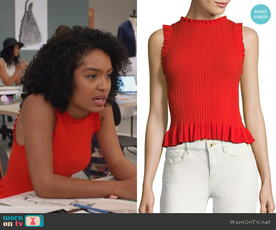 Sleeveless Ribbed Tank Top by Rebecca Taylor worn by Yara Shahidi on Grown-ish