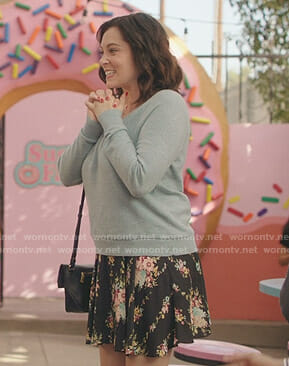 Rebecca's black floral skirt on Crazy Ex-Girlfriend