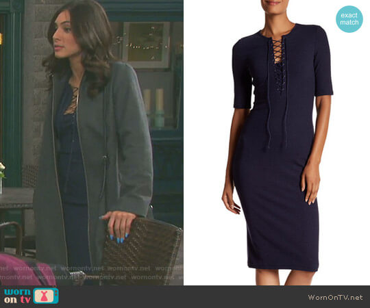 Ribbed Lace-Up Tee Dress by Derek Lam 10 Crosby worn by Camila Banus on Days of our Lives