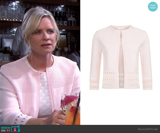 Rihanon Cutwork Cardigan by Ted Baker worn by Kayla Brady (Mary Beth Evans) on Days of our Lives