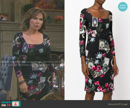 Mystic Garden Print Dress by Roberto Cavalli worn by Kate Roberts (Lauren Koslow) on Days of our Lives