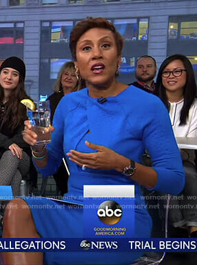 Robin's blue crossover front dress on Good Morning America