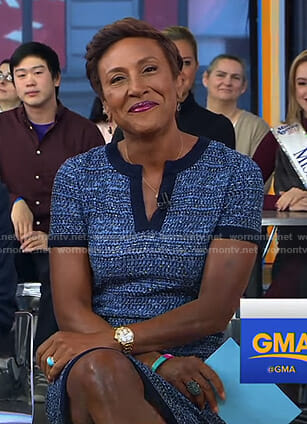 Robin's blue tweed v-neck dress on Good Morning America