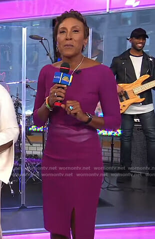Robin's purple leather insert sheath dress on Good Morning America