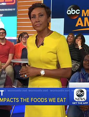 Robin's yellow v-neck dress on Good Morning America