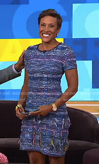 Robin's blue tweed dress on Good Morning America