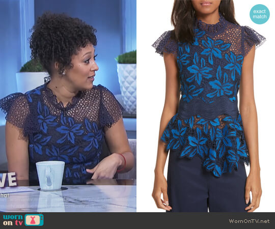 Mosaic Lace Peplum Top by Sea worn by Tamera Mowry on The Real