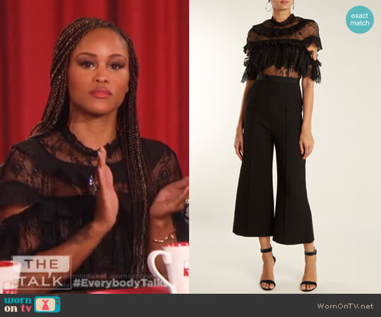 Ruffled-lace wide-leg cady jumpsuit by Self Portrait worn by Eve  on The Talk