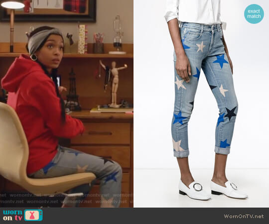 Star Print Cropped Jeans by Stella McCartney worn by Zoey Johnson (Yara Shahidi) on Grown-ish