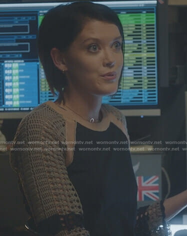 Sage's black knitted sleeve top on The Gifted