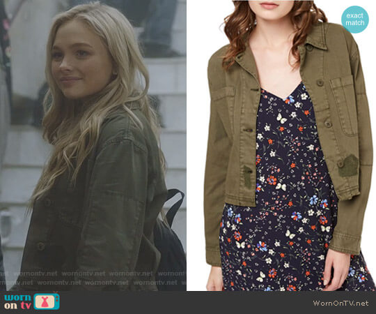 Crop Cotton Military Jacket by Sanctuary worn by Natalie Alyn Lind on The Gifted