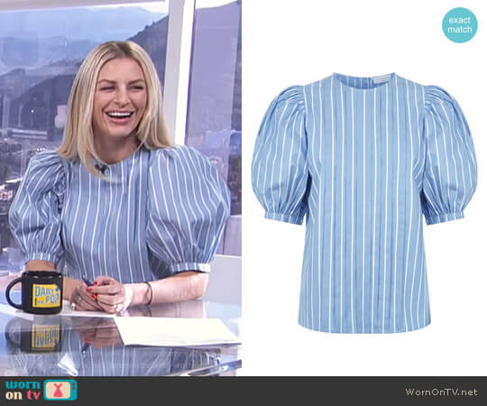 Balloon Sleeve Blouse by Sandro worn by Morgan Stewart on E! News