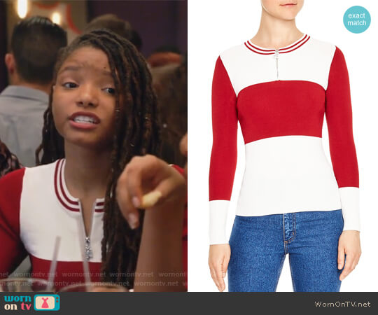 Fiona Color-Block Sweater by Sandro worn by Skylar Forster (Halle Bailey) on Grown-ish