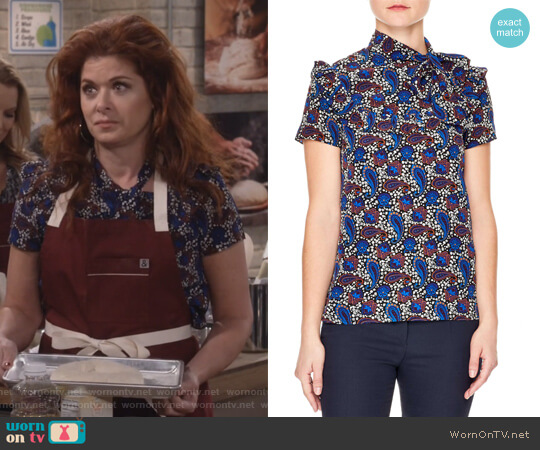 Poe Paisley Silk Blouse by Sandro worn by Debra Messing on Will & Grace