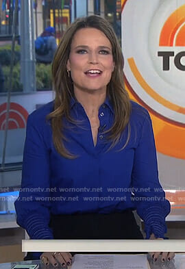 Savannah's blue ruched cuff blouse on Today