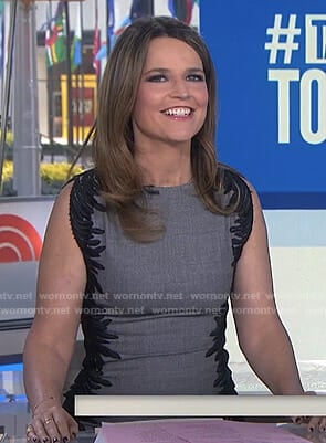 Savannah's grey side embroidered sheath dress on Today