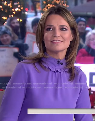 Savannah's purple ruffle mock neck top on Today